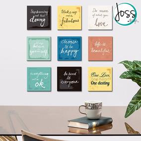 Cuadros Decorativos Set De 9 Piezas Frases Motivacionales