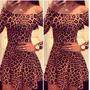 Vestido De Festa Bodycon Leopardo Importado
