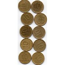 10 Monedas 10 Centavos, Usadas, 4 1987 Y 1988, 2 1986.