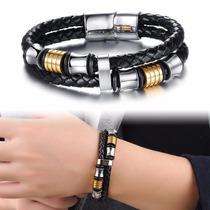 Bracelete Masculina Pulseira Couro Aço Inox Ouro Promoção