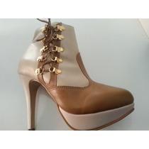 Bota Ankle Boots Em Couro Legitimo Ref. 454 Conf Disp De Nº