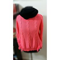 Sweater Rosa Flúor Con 8 Y Flecos Liquidación Invierno 16