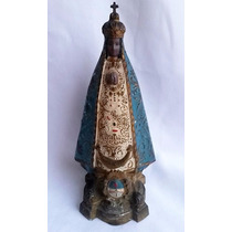 Figura Virgen Del Valle Antigua Peltre Esmaltado