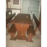 mesa rustica con bancos para barbacoa o exterior