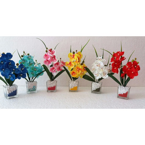 Mini Arranjo De Flores Artificiais, No Vidro 6 Cores Cada
