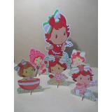 Kit Moranguinho Baby Decoração 1 Display Chão 70cm E 5 Mesa