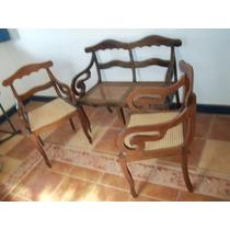 (sergioschw) Jogo De Canape Marquesa E 2 Cadeiras Palhinha