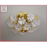 Lampara Plafon De Techo Tres Luces Flores Acrilico Dorado