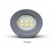 Spot Titanio Redondo Embutir Em Moveis 6 Leds Branco Quente