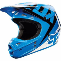 Casco Fox Vf1 Moto Cross Enduro Mx Azul Blanco Fas Motos