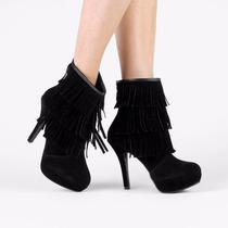 Bota Feminina Vizzano Meia Pata Franjas Ankle Boot