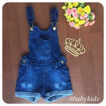 Jardineira Infantil Jeans Feminina