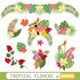 Kit Imprimible Tropical Flowers 10 Clipart - Vectores
