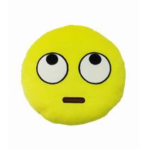 Almofada Emoji Olhar Pra Cima Pelúcia Bordado