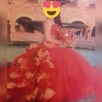 Vestido De Xv Años 4 Piezas Color Rojo Vivo Con Dorado