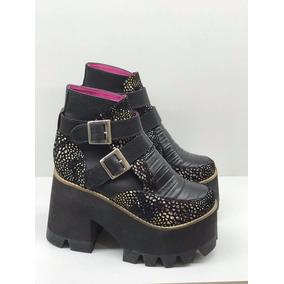 Bota Caña Baja Cuero Plataforma 10cm Hebillas- Munnah Shoes