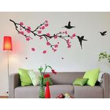 Adesivos Decorativos Parede Galhos Pássaros Árvores Gaiola