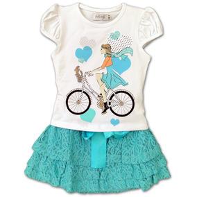 Conjunto Infantil Top Menina Bike E Saia Renda Verde 4
