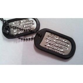 Juego De Placas Identificacion Militar Cadena Negra Dog Tag