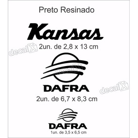 Kit Emblema Adesivo Resinado Dafra Kansas Custon Preto