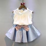 Conjunto Luxo Infantil Menina Blusa Bordada Mini Saia Pérola
