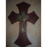 Escultura Religiosa Cruz Gótica Colonial Cristo