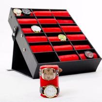 Mala, Maleta, Expositor Para 36 Relógios - Couro - Tecido