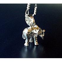 Cadena Y Dije De Elefante Africano En Plata Ley.925