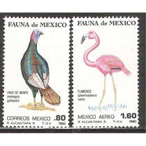 1980 Fauna De México, Pavo Y Flamenco Aves 2 Sellos Mnh