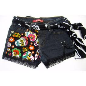 Short Jeans Lycra 40 Customizado Com Caveiras Lovely Lolla