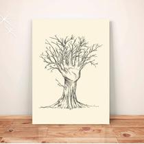 Pôster Desenho Árvore Mão - Placa Rígida A3 #pdv024a0