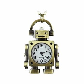 Relógio De Bolso Bronze Antigo - Colar - Modelo Robô