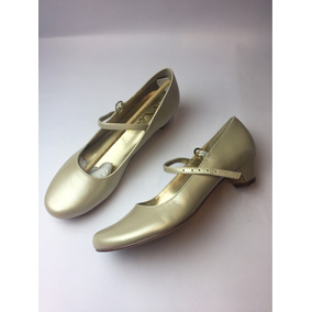 Baleta Con Tacón Niña Talla 3.5us 19 Col Dorado