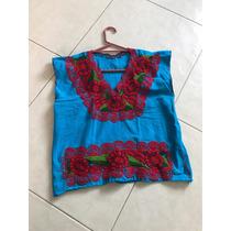 Blusa Bordada Típica Morelia Flores Rosas Azul S Crop Manta