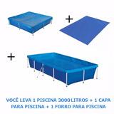 Kit Piscina Standard 3000 L + Capa + Forro Mor
