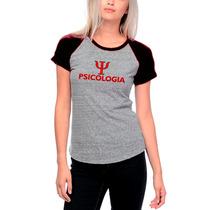 Baby Look Psicologia - Camiseta Raglan Curso Universitário