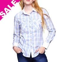 Camisa Feminina Blusa Xadrez Azul E Cinza Manga Longa Skinny