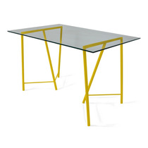 Mesa Cavalete 80x150cm Atz130 Tampo Vidro - Amarelo
