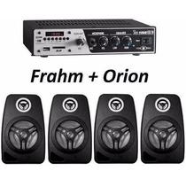 Aparelho Som Ambiente Frahm Slim1000 Usb Sd + 4 Caixas 220w