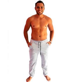 Calça Moleton Skinny Slim Masculina Treino Casual Moletom