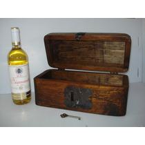 Baúl Rústico Porta Botella.madera De Pino.excelente Calidad.