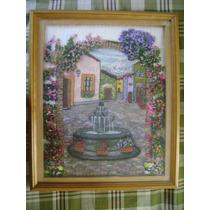 Cuadro Con Bonita Fuente. Trabajo De Hilado Y Flores Rococo