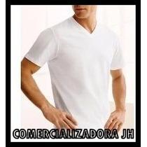 Franela Algodon Solo Talla L - Cuello V Blanco - Negro