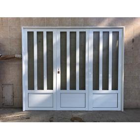 Porton De Aluminio Blanco Reforzado De 240x200 3/4 Vidrio