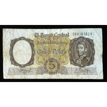 Billete 5 Pesos. Moneda Nacional. 1961. Bottero 1924.