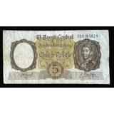 Billete 5 Pesos. Moneda Nacional. 1961. Bottero 1924.