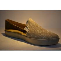 Zapatos Corte Vans Escarcha Beige