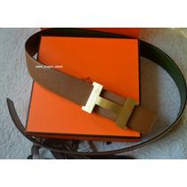 Cinto Hermes Marrom E Verde Com Fivela Ouro Escovado 42mm