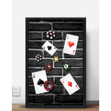 Quadro Poker Fichas E Quadra De Ases - 100 X 70 Cm (moldurad