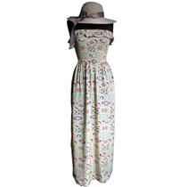 Maxi Vestido Strapless Súper Fresco Verano Playa Moda Mujer